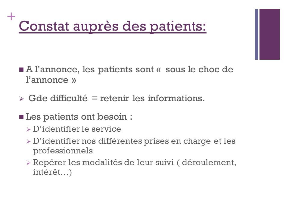 + Constat auprès des patients: A lannonce, les patients sont « sous le choc de lannonce » Gde difficulté = retenir les informations. Les patients ont
