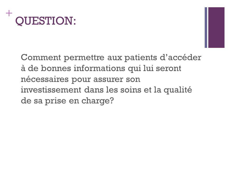 + QUESTION: Comment permettre aux patients daccéder à de bonnes informations qui lui seront nécessaires pour assurer son investissement dans les soins et la qualité de sa prise en charge