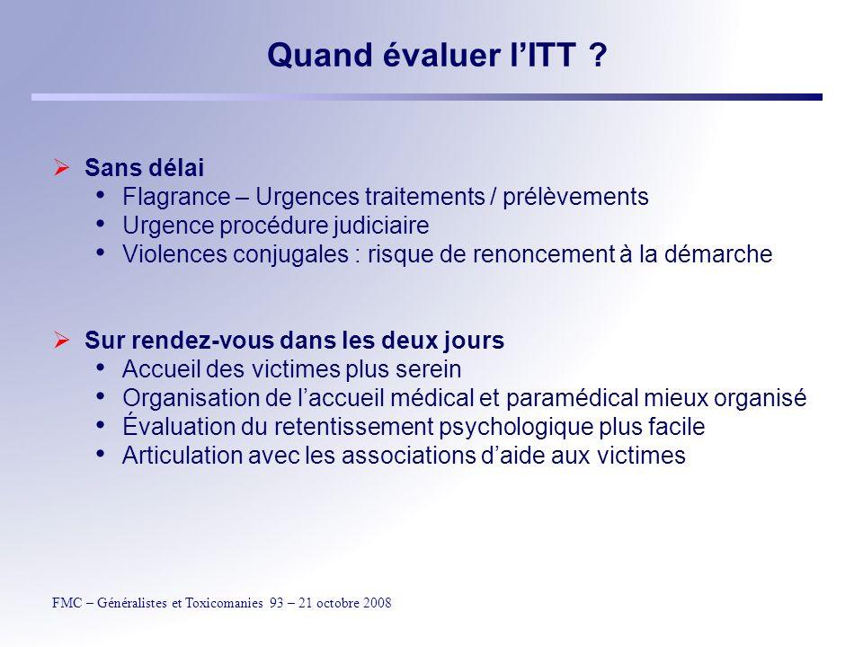 FMC – Généralistes et Toxicomanies 93 – 21 octobre 2008 Quand évaluer lITT .