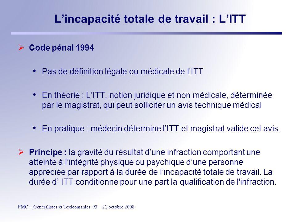 FMC – Généralistes et Toxicomanies 93 – 21 octobre 2008 Lincapacité totale de travail : LITT Définition dusage : durée de perturbation notable des actes essentiels de la vie courante.