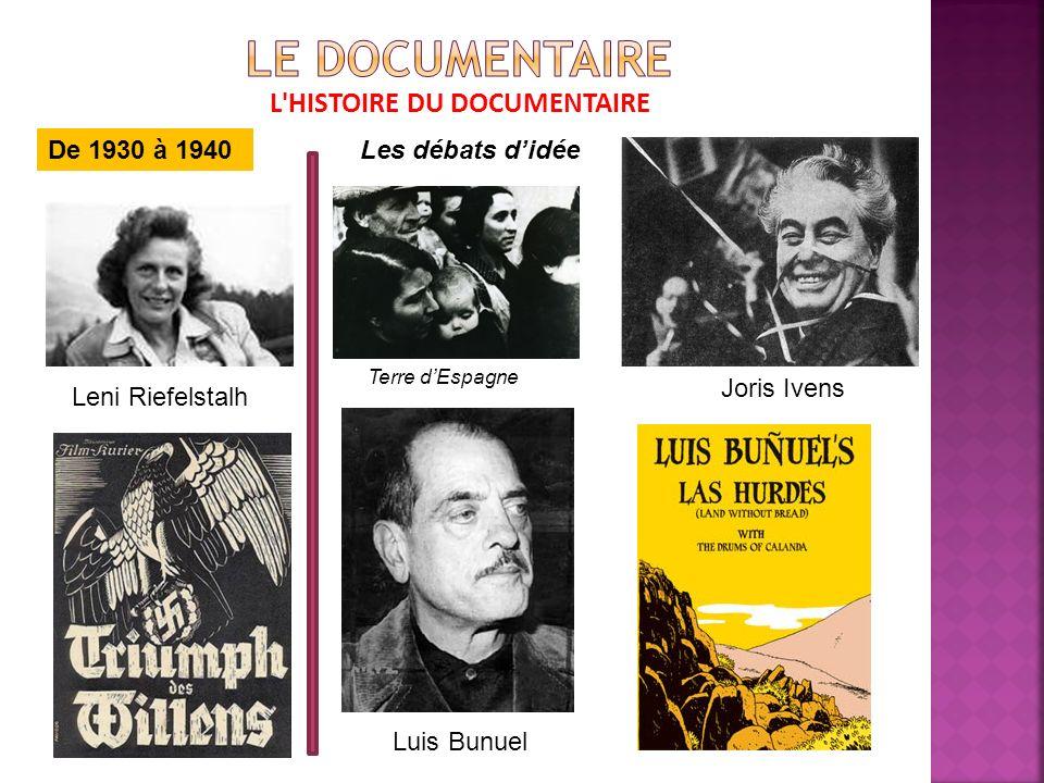 L HISTOIRE DU DOCUMENTAIRE De 1930 à 1940Les débats didée Leni Riefelstalh Joris Ivens Terre dEspagne Luis Bunuel