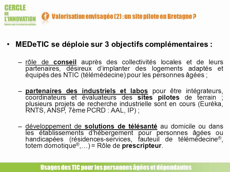 Usages des TIC pour les personnes âgées et dépendantes Valorisation envisagée (2) : un site pilote en Bretagne ? MEDeTIC se déploie sur 3 objectifs co