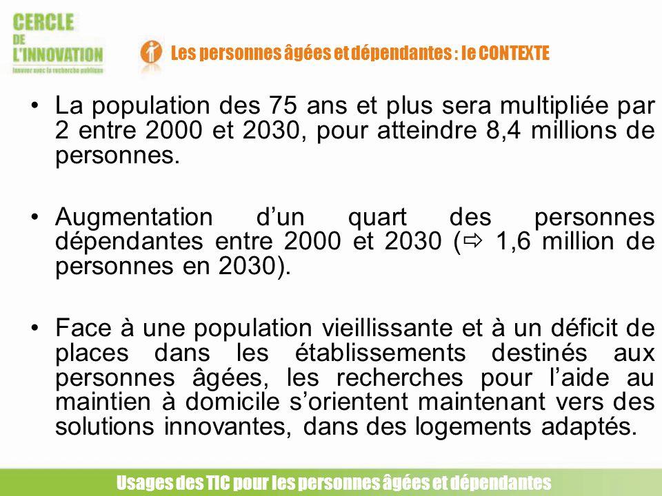 La population des 75 ans et plus sera multipliée par 2 entre 2000 et 2030, pour atteindre 8,4 millions de personnes. Augmentation dun quart des person