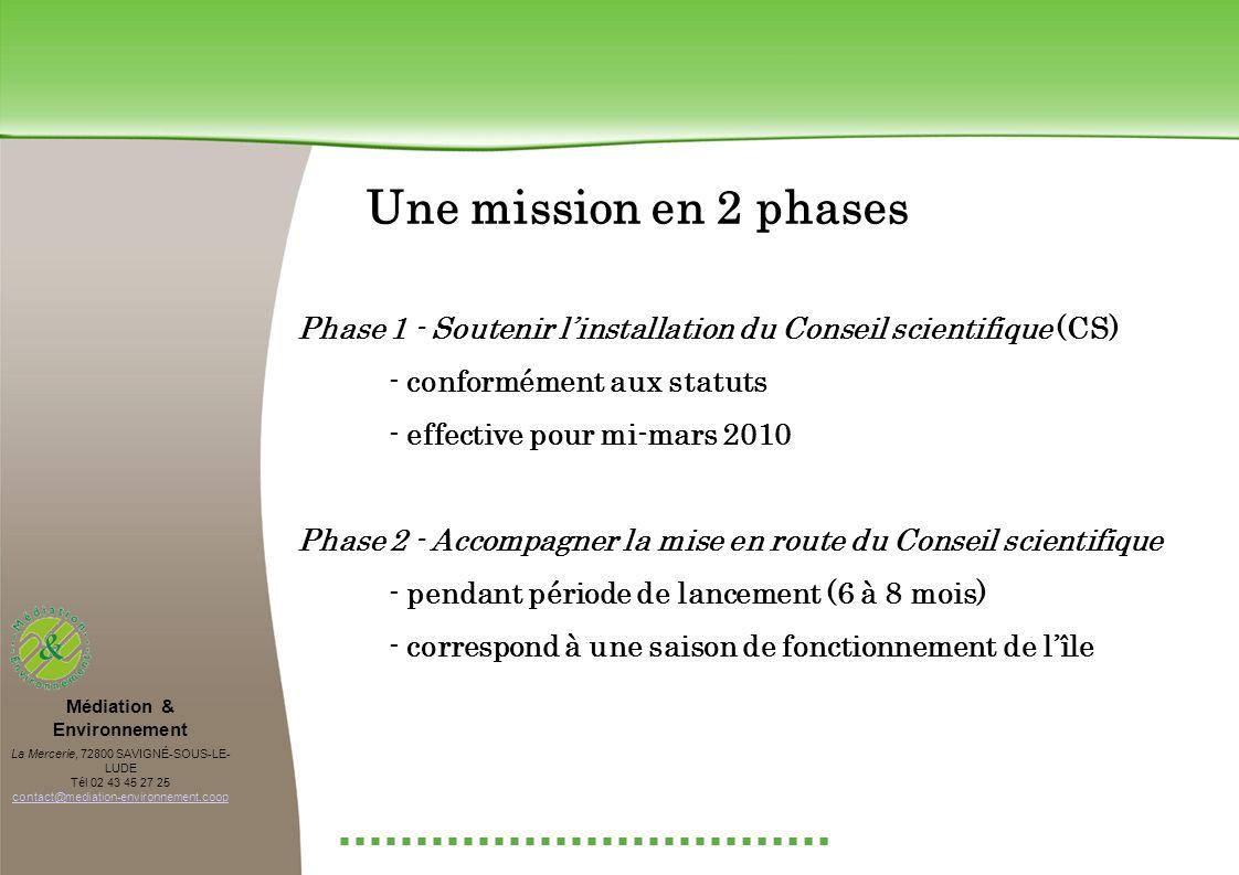 Une mission en 2 phases Phase 1 - Soutenir linstallation du Conseil scientifique (CS) - conformément aux statuts - effective pour mi-mars 2010 Phase 2