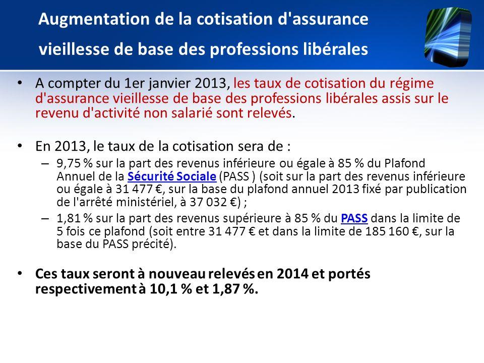Augmentation de la cotisation d'assurance vieillesse de base des professions libérales A compter du 1er janvier 2013, les taux de cotisation du régime