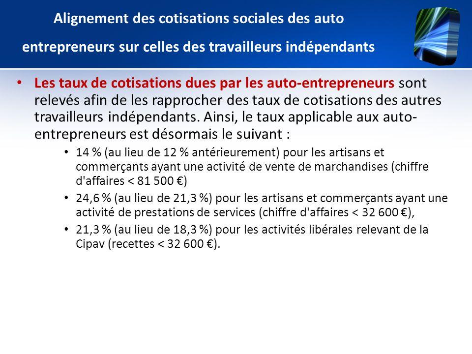 Alignement des cotisations sociales des auto entrepreneurs sur celles des travailleurs indépendants Les taux de cotisations dues par les auto-entrepre