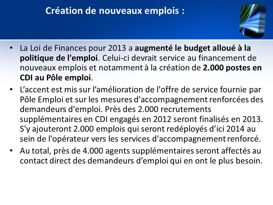 Création de nouveaux emplois : La Loi de Finances pour 2013 a augmenté le budget alloué à la politique de l'emploi. Celui-ci devrait service au financ