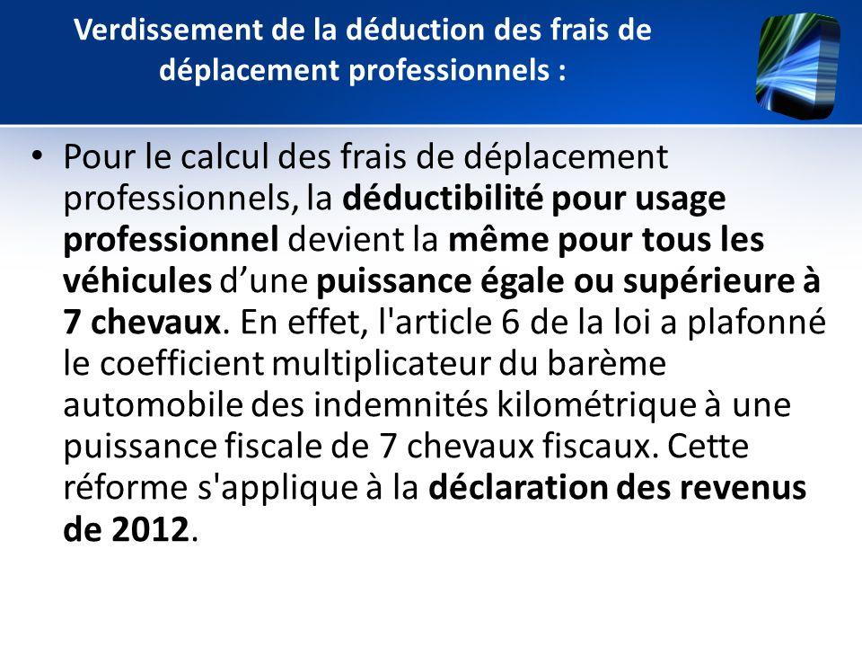 Verdissement de la déduction des frais de déplacement professionnels : Pour le calcul des frais de déplacement professionnels, la déductibilité pour u