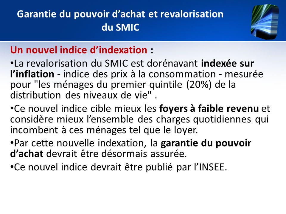 Garantie du pouvoir dachat et revalorisation du SMIC Un nouvel indice dindexation : La revalorisation du SMIC est dorénavant indexée sur linflation -