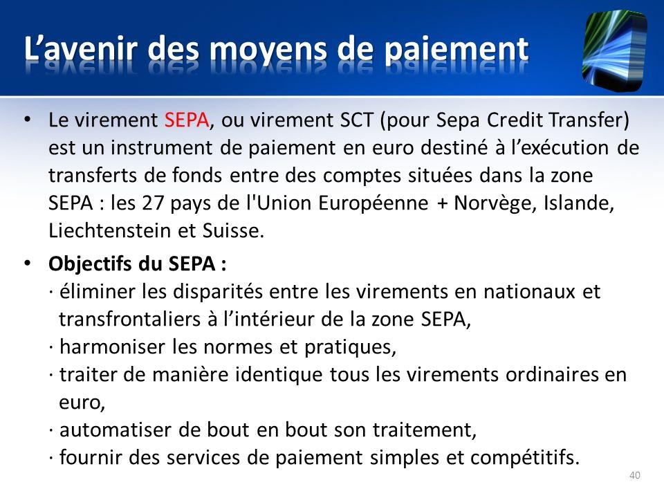 Le virement SEPA, ou virement SCT (pour Sepa Credit Transfer) est un instrument de paiement en euro destiné à lexécution de transferts de fonds entre