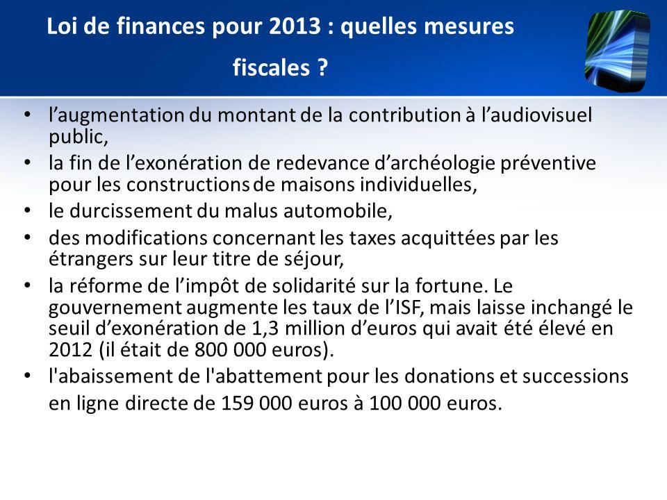 laugmentation du montant de la contribution à laudiovisuel public, la fin de lexonération de redevance darchéologie préventive pour les constructions