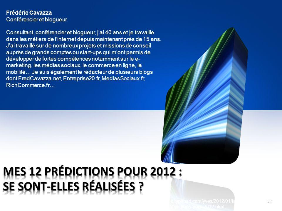 52 http://just-do-it.typepad.com/yves/2012/01/fredcavazzanet-mes- 12-pr%C3%A9dictions-pour-2012.html Frédéric Cavazza Conférencier et blogueur Consult