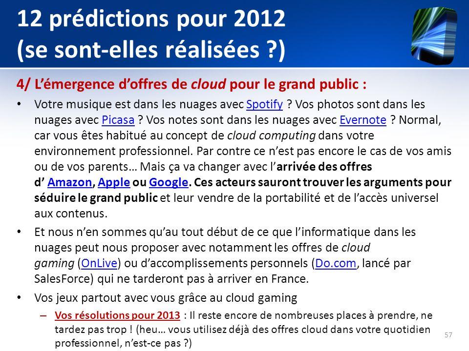 12 prédictions pour 2012 (se sont-elles réalisées ?) 4/ Lémergence doffres de cloud pour le grand public : Votre musique est dans les nuages avec Spot