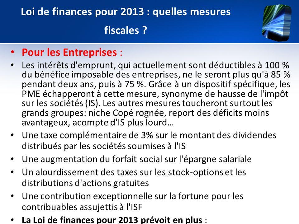 Pour les Entreprises : Les intérêts d'emprunt, qui actuellement sont déductibles à 100 % du bénéfice imposable des entreprises, ne le seront plus qu'à