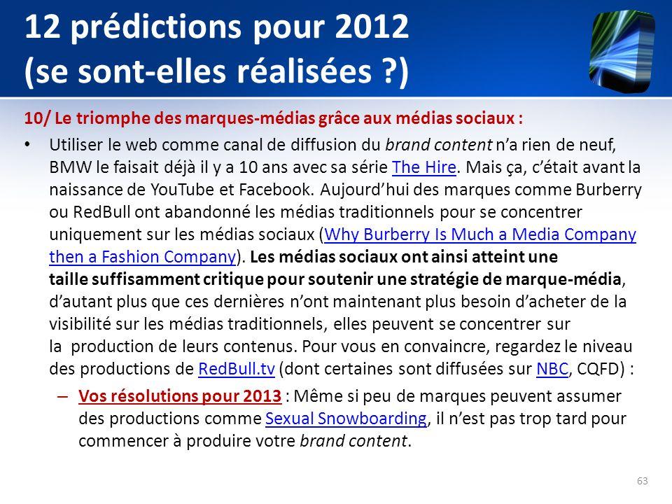 12 prédictions pour 2012 (se sont-elles réalisées ?) 10/ Le triomphe des marques-médias grâce aux médias sociaux : Utiliser le web comme canal de diff
