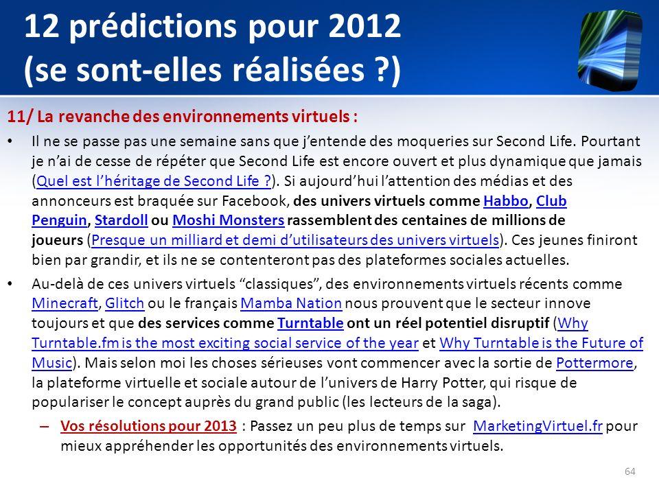 12 prédictions pour 2012 (se sont-elles réalisées ?) 11/ La revanche des environnements virtuels : Il ne se passe pas une semaine sans que jentende de