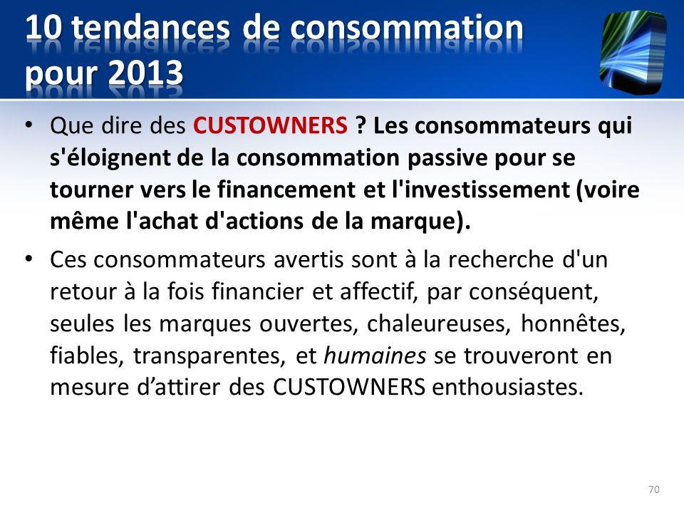 Que dire des CUSTOWNERS ? Les consommateurs qui s'éloignent de la consommation passive pour se tourner vers le financement et l'investissement (voire