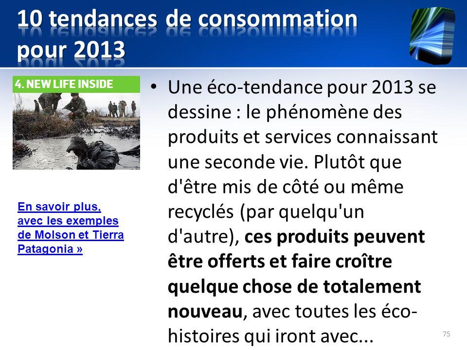 Une éco-tendance pour 2013 se dessine : le phénomène des produits et services connaissant une seconde vie. Plutôt que d'être mis de côté ou même recyc