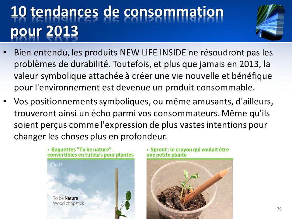 Bien entendu, les produits NEW LIFE INSIDE ne résoudront pas les problèmes de durabilité. Toutefois, et plus que jamais en 2013, la valeur symbolique