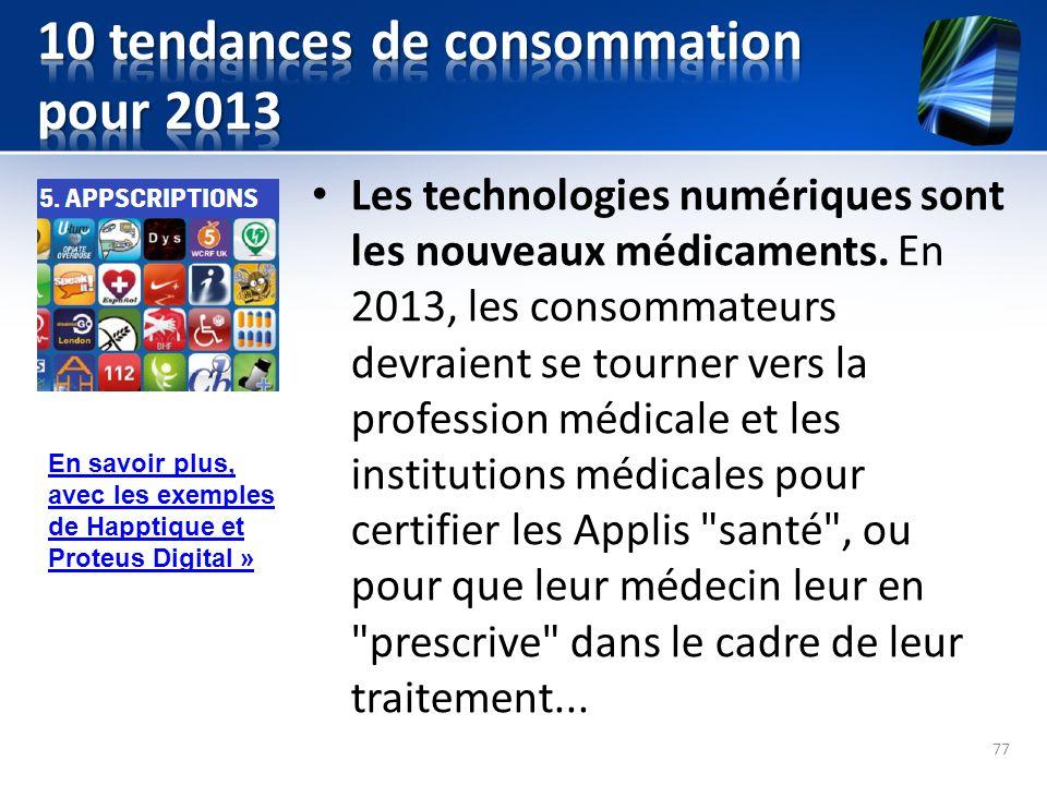 Les technologies numériques sont les nouveaux médicaments. En 2013, les consommateurs devraient se tourner vers la profession médicale et les institut