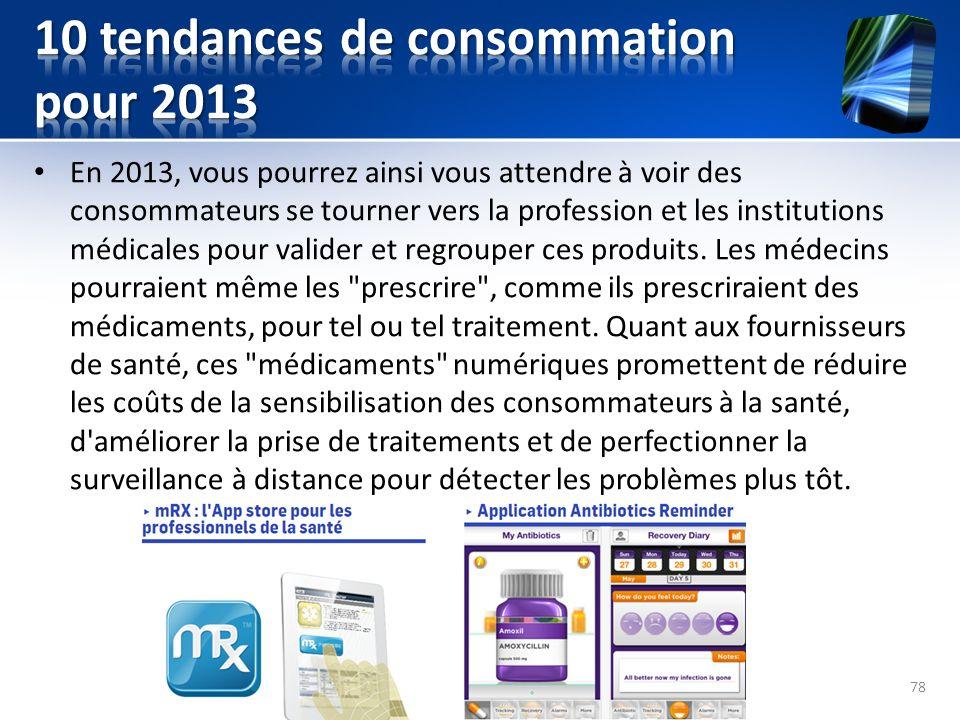 En 2013, vous pourrez ainsi vous attendre à voir des consommateurs se tourner vers la profession et les institutions médicales pour valider et regroup