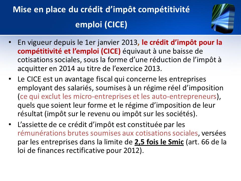 Mise en place du crédit dimpôt compétitivité emploi (CICE) En vigueur depuis le 1er janvier 2013, le crédit dimpôt pour la compétitivité et lemploi (C