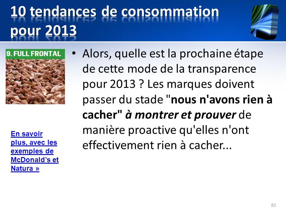 Alors, quelle est la prochaine étape de cette mode de la transparence pour 2013 ? Les marques doivent passer du stade
