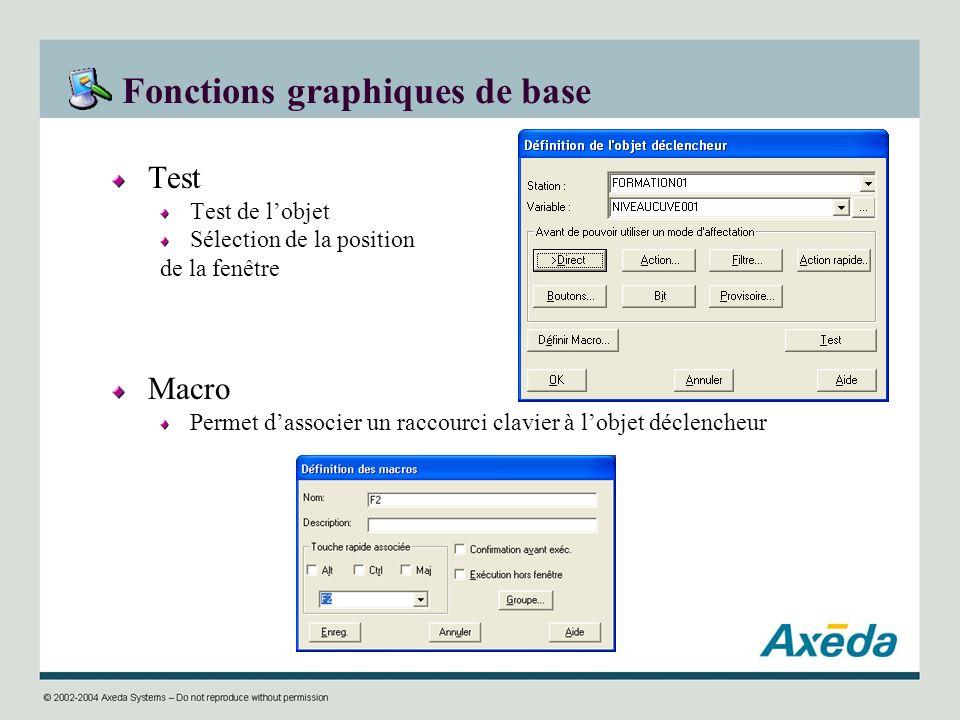 Fonctions graphiques de base Test Test de lobjet Sélection de la position de la fenêtre Macro Permet dassocier un raccourci clavier à lobjet déclenche