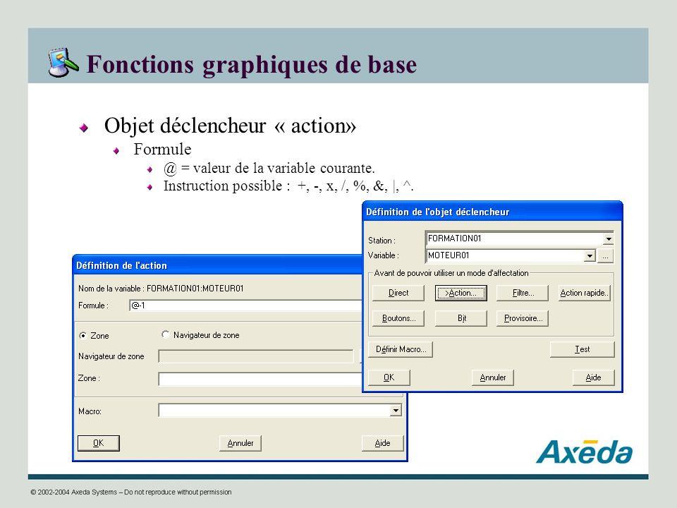 Fonctions graphiques de base Objet déclencheur « action» Formule @ = valeur de la variable courante. Instruction possible : +, -, x, /, %, &, |, ^.