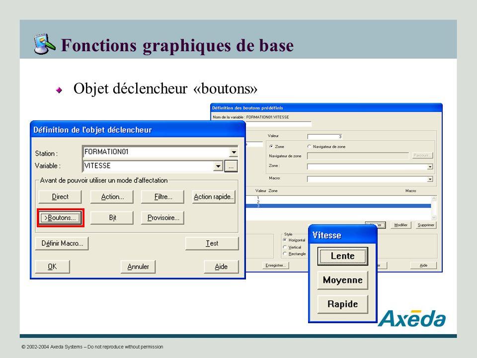 Fonctions graphiques de base Objet déclencheur «boutons»