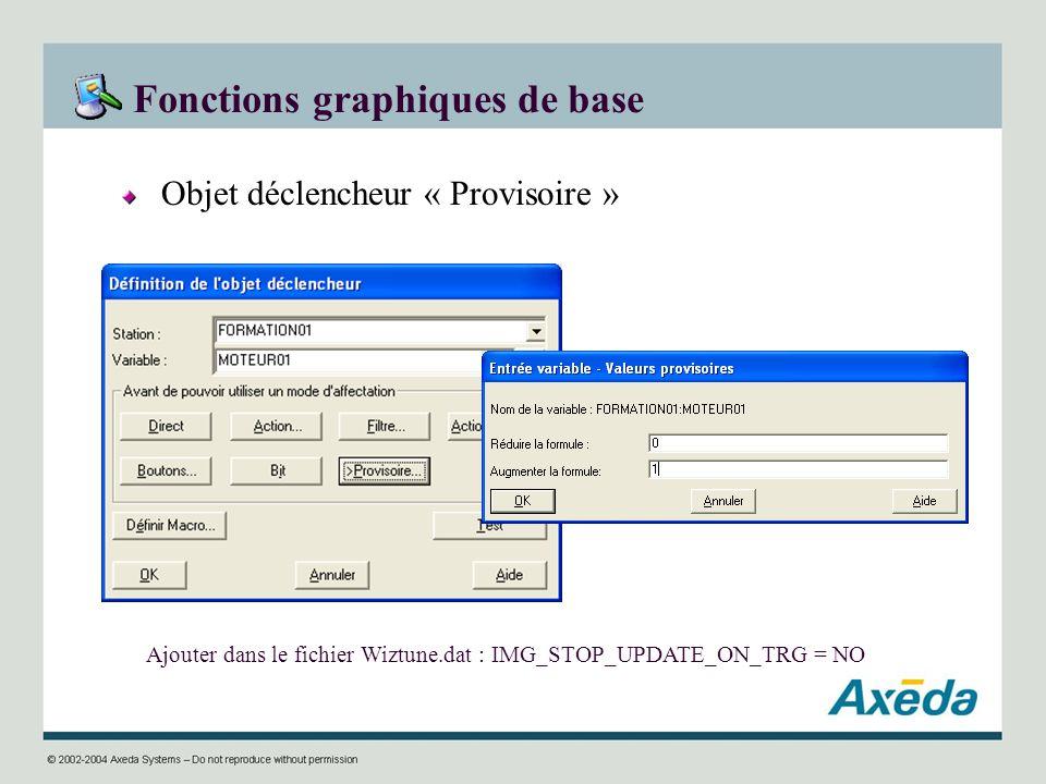 Fonctions graphiques de base Objet déclencheur « Provisoire » Ajouter dans le fichier Wiztune.dat : IMG_STOP_UPDATE_ON_TRG = NO