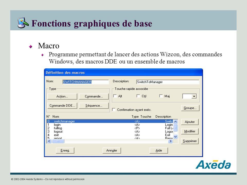 Fonctions graphiques de base Macro Programme permettant de lancer des actions Wizcon, des commandes Windows, des macros DDE ou un ensemble de macros
