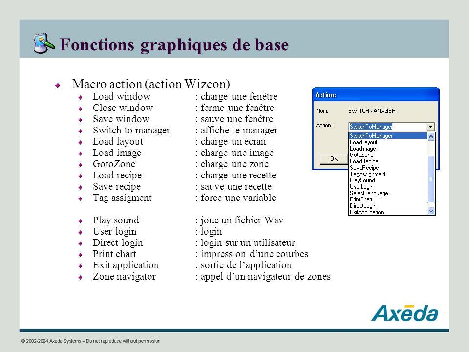 Fonctions graphiques de base Macro action (action Wizcon) Load window : charge une fenêtre Close window : ferme une fenêtre Save window: sauve une fen