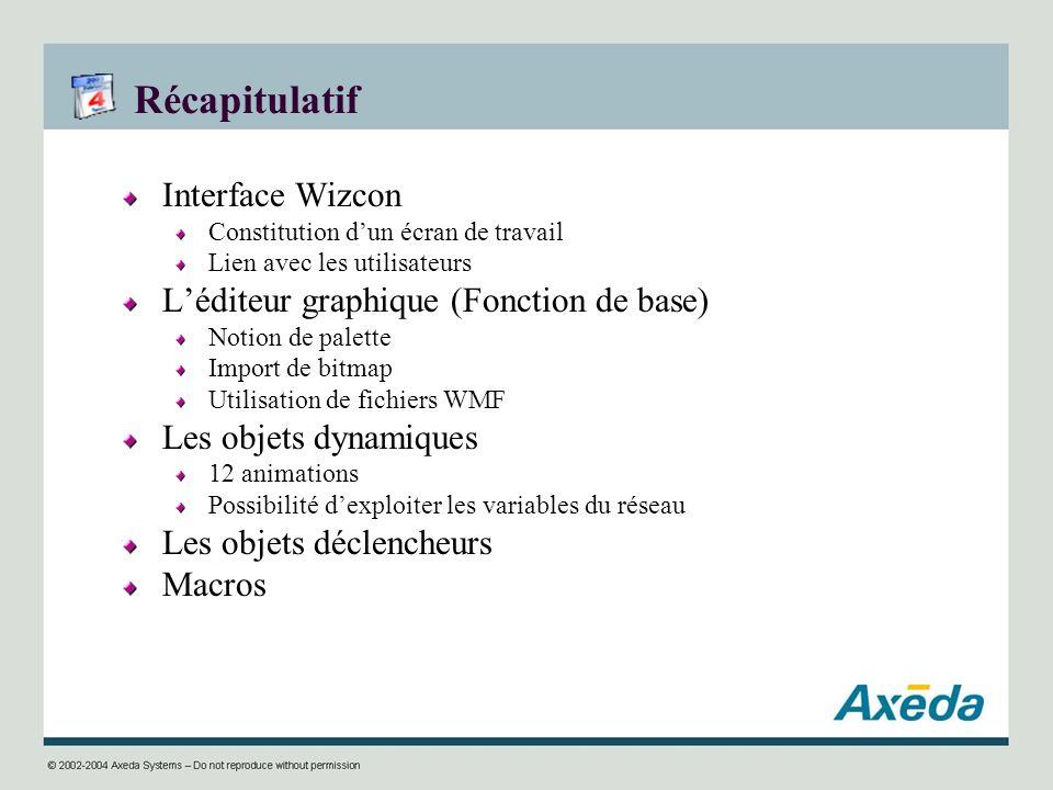Récapitulatif Interface Wizcon Constitution dun écran de travail Lien avec les utilisateurs Léditeur graphique (Fonction de base) Notion de palette Im