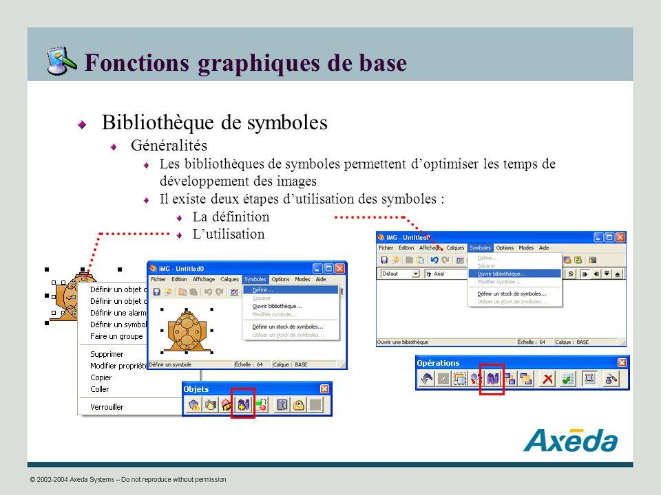 Fonctions graphiques de base Bibliothèque de symboles Généralités Les bibliothèques de symboles permettent doptimiser les temps de développement des i