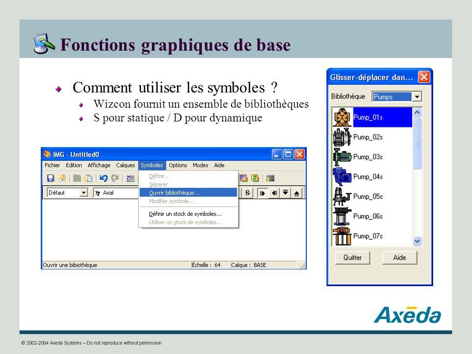 Fonctions graphiques de base Comment utiliser les symboles ? Wizcon fournit un ensemble de bibliothèques S pour statique / D pour dynamique