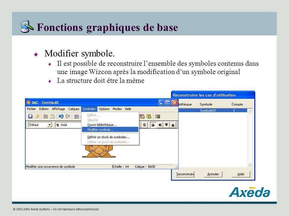 Fonctions graphiques de base Modifier symbole. Il est possible de reconstruire lensemble des symboles contenus dans une image Wizcon après la modifica