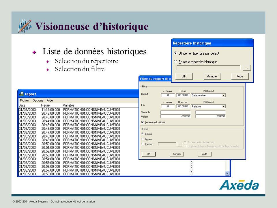 Visionneuse dhistorique Liste de données historiques Sélection du répertoire Sélection du filtre