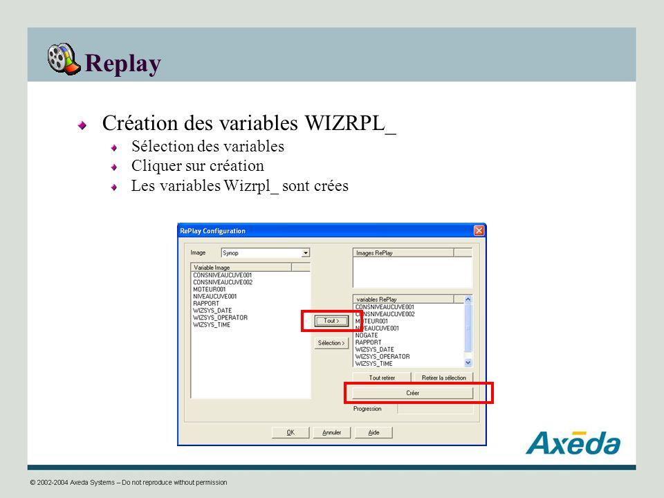 Replay Création des variables WIZRPL_ Sélection des variables Cliquer sur création Les variables Wizrpl_ sont crées