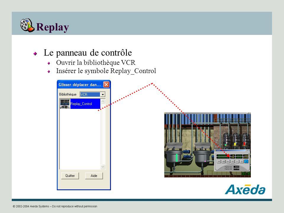 Replay Le panneau de contrôle Ouvrir la bibliothèque VCR Insérer le symbole Replay_Control