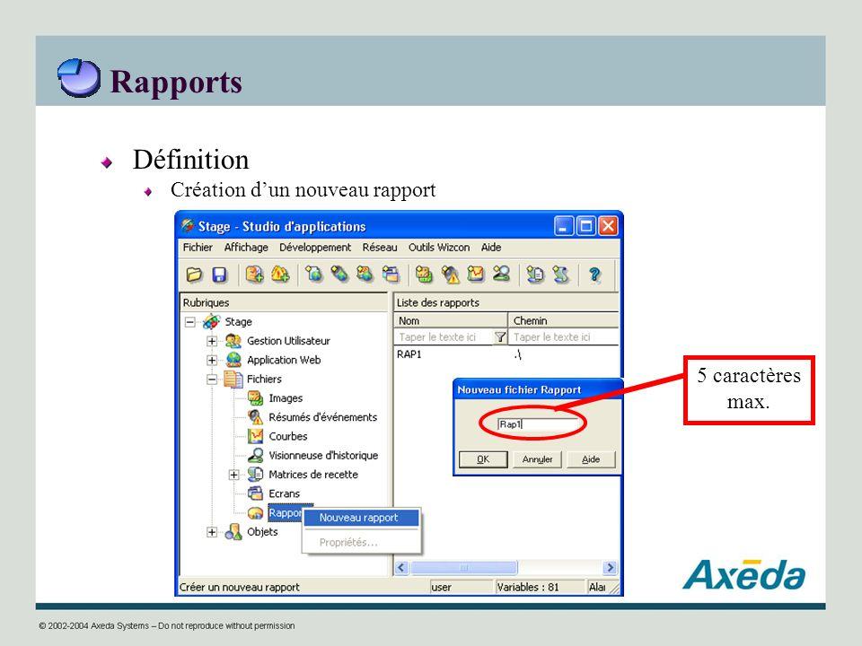 Rapports Définition Création dun nouveau rapport 5 caractères max.