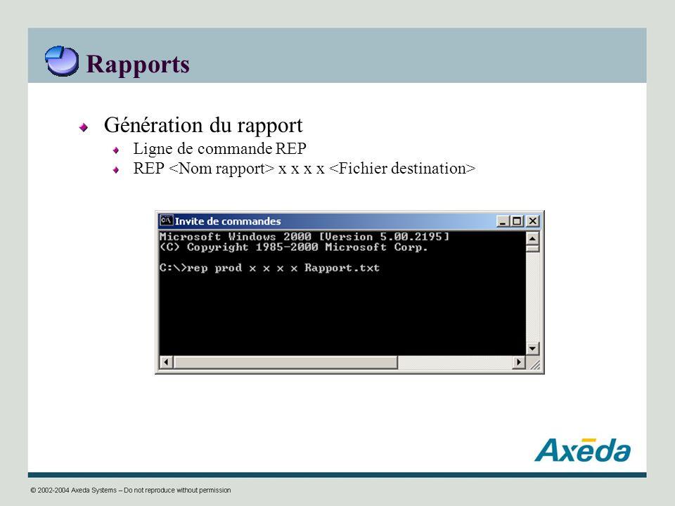Rapports Génération du rapport Ligne de commande REP REP x x x x