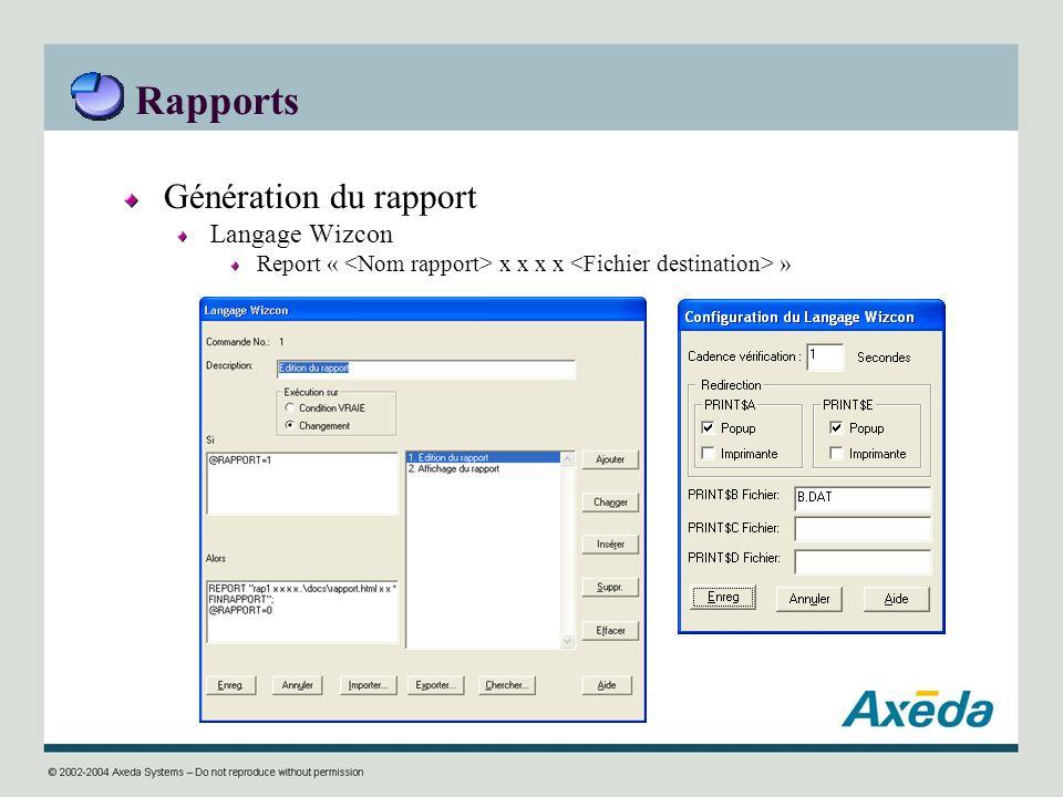 Rapports Génération du rapport Langage Wizcon Report « x x x x »