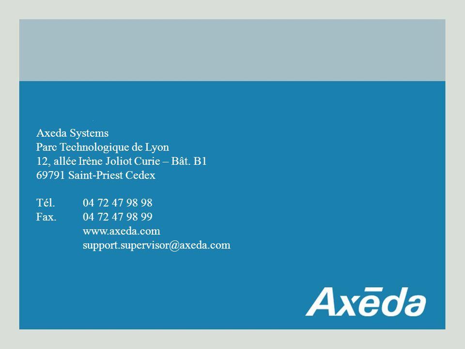 Axeda Systems Parc Technologique de Lyon 12, allée Irène Joliot Curie – Bât. B1 69791 Saint-Priest Cedex Tél.04 72 47 98 98 Fax.04 72 47 98 99 www.axe