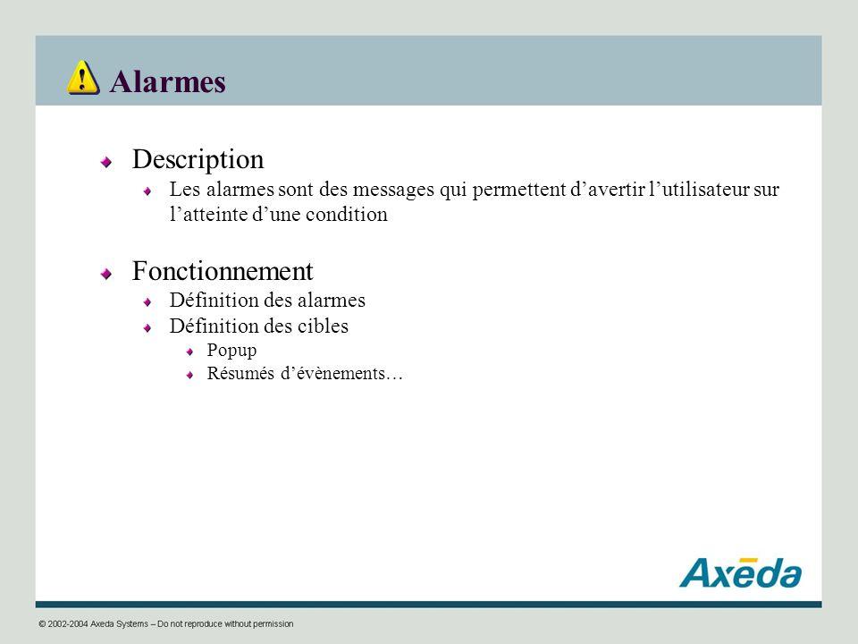 Alarmes Description Les alarmes sont des messages qui permettent davertir lutilisateur sur latteinte dune condition Fonctionnement Définition des alar