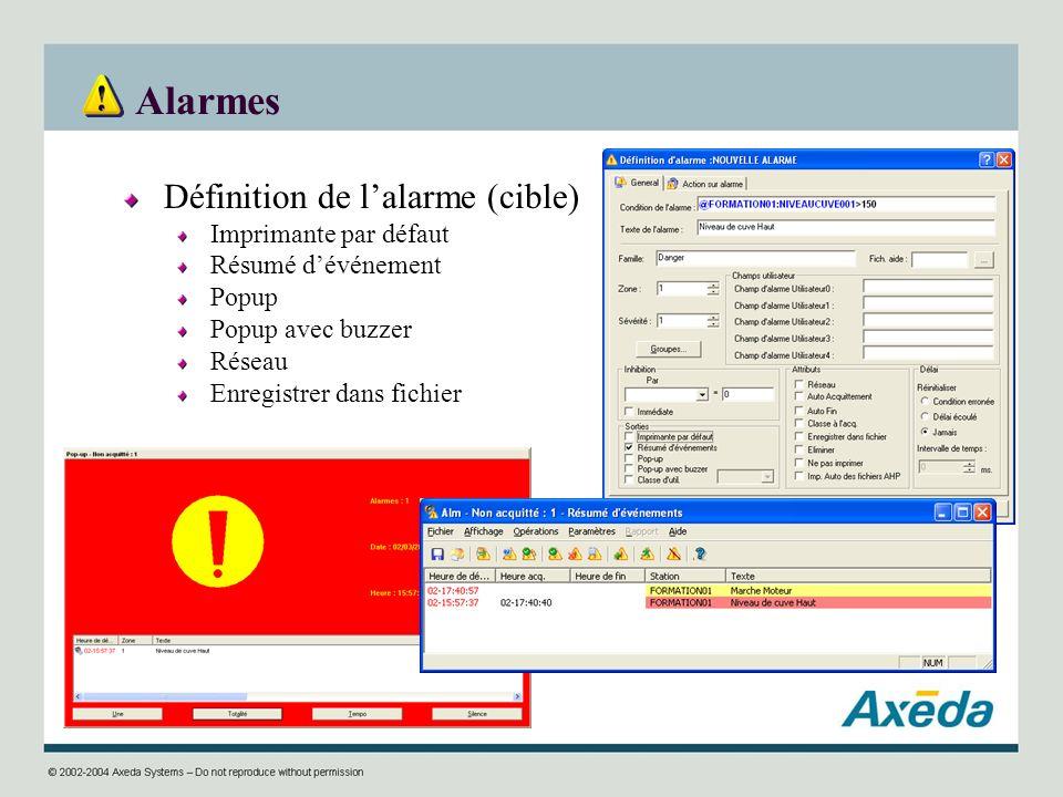 Alarmes Définition de lalarme (cible) Imprimante par défaut Résumé dévénement Popup Popup avec buzzer Réseau Enregistrer dans fichier