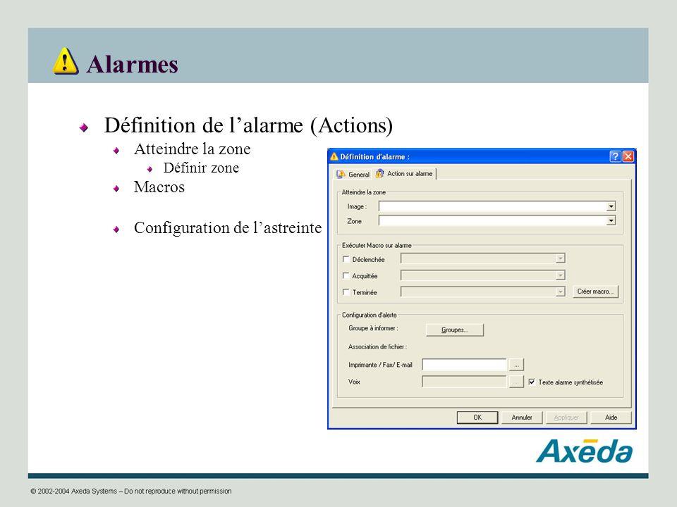 Alarmes Définition de lalarme (Actions) Atteindre la zone Définir zone Macros Configuration de lastreinte