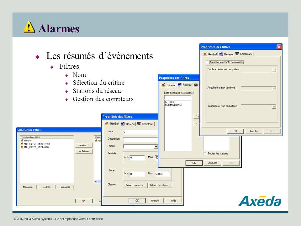 Alarmes Les résumés dévènements Filtres Nom Sélection du critère Stations du réseau Gestion des compteurs