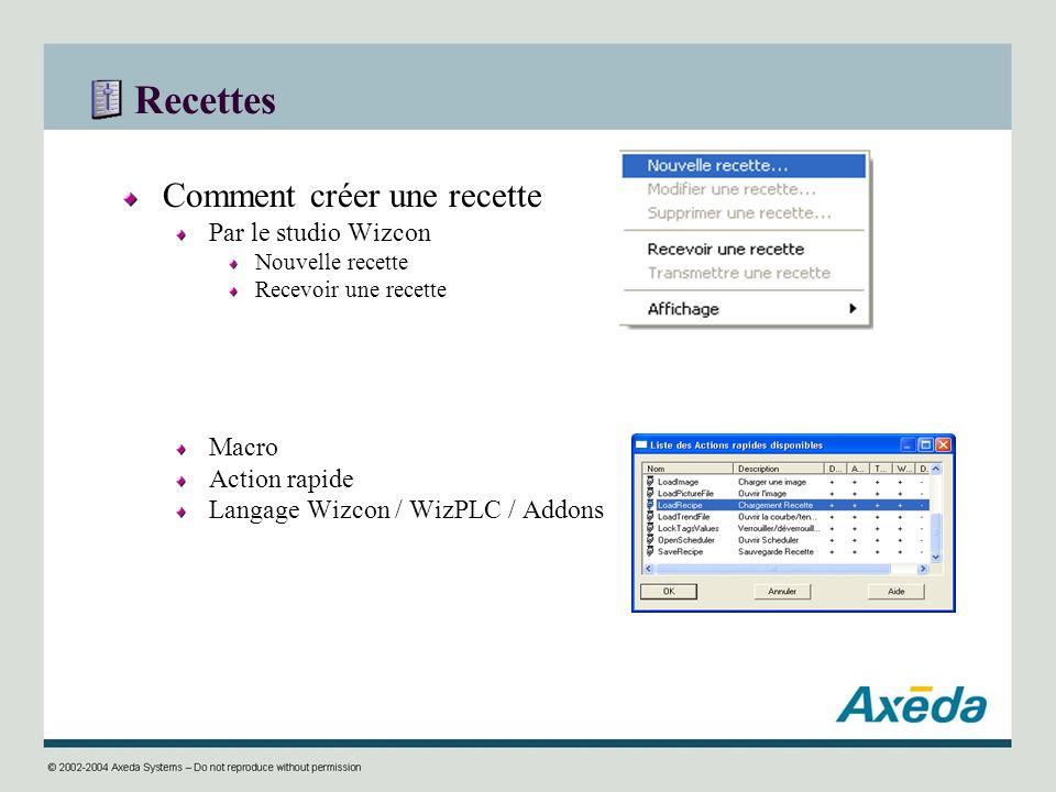Recettes Comment créer une recette Par le studio Wizcon Nouvelle recette Recevoir une recette Macro Action rapide Langage Wizcon / WizPLC / Addons