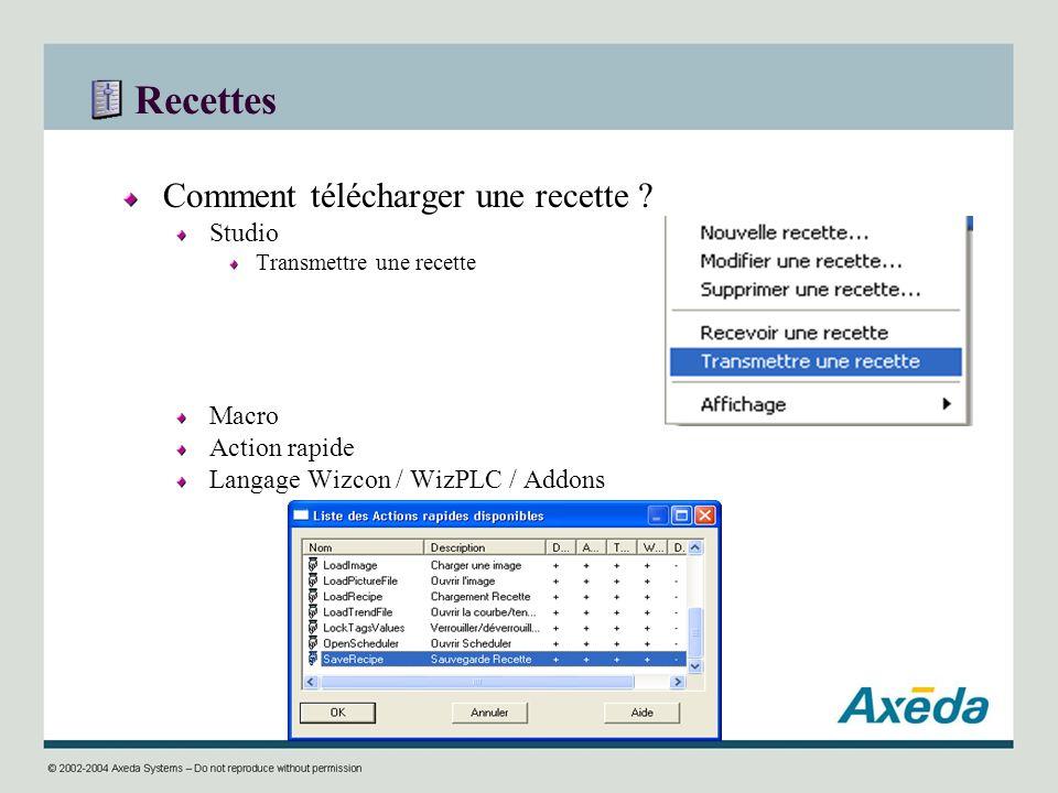 Recettes Comment télécharger une recette ? Studio Transmettre une recette Macro Action rapide Langage Wizcon / WizPLC / Addons